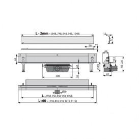Водосточный желоб AlcaPlast APZ5 SPA-Eden 950 мм с решеткой APZ5-EDEN-950