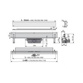 Водосточный желоб AlcaPlast APZ5 SPA-Shade 950 мм с решеткой APZ5-SHADE-950