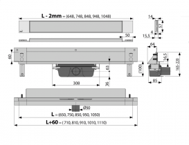 Водосточный желоб AlcaPlast APZ5 SPA-Twin 950 мм с решеткой APZ5-TWIN-950