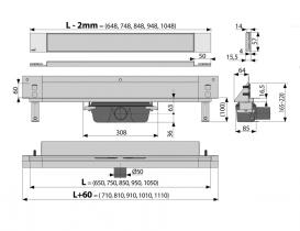 Водосточный желоб AlcaPlast APZ5 SPA-Twin 1050 мм с решеткой APZ5-TWIN-1050