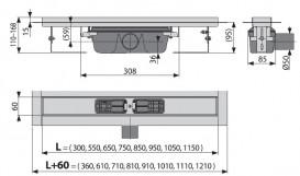 Водосточный желоб AlcaPlast APZ6 Professional 300 мм Smart нержавеющая сталь APZ6-300