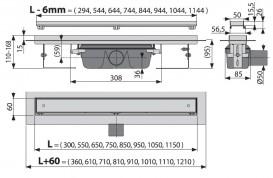Водосточный желоб AlcaPlast APZ7 1150 мм с решеткой Floor под плитку APZ7-1150