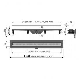 Водосточный желоб AlcaPlast APZ9 550 мм с решеткой Simple APZ9-550m