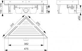 Водосточный желоб AlcaPlast ARZ-3 Triangle угловой с решеткой ARZ-3-TRIANGLE