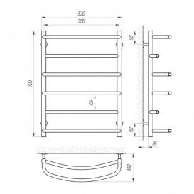 Водяной полотенцесушитель Laris Еврофлеш П6 500x700 мм хром 74100015