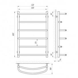 Водяной полотенцесушитель Laris Еврофлеш П6 500x800 мм хром 74100016