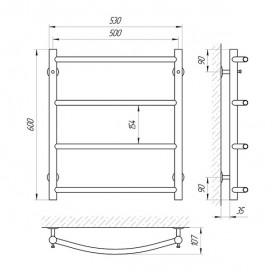 Водяной полотенцесушитель Laris Флеш П4 500х600 мм хром 74100003