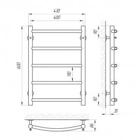 Водяной полотенцесушитель Laris Флеш П5 400х600 мм хром 74100005