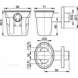 Воронка с сифоном для сбора конденсата AlcaPlast с шариком AKS1Z