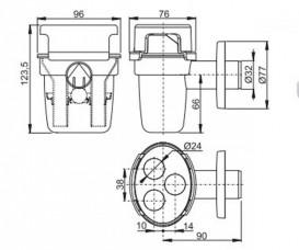 Воронка с сифоном для сбора конденсата AlcaPlast с шариком на 3 источника AKS5