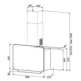 Вытяжка для кухни навесная Apell Cappe класс энергосбережения D черное стекло CVE600BE