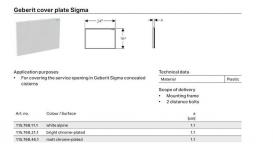 Защитная крышка окна доступа Geberit Sigma пластик белый 115.768.11.1