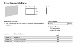 Защитная крышка окна доступа Geberit Sigma пластик хром матовый 115.768.46.1
